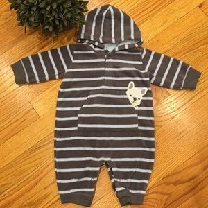 Carter's Striped Fleece Doggy Romper 3 Months